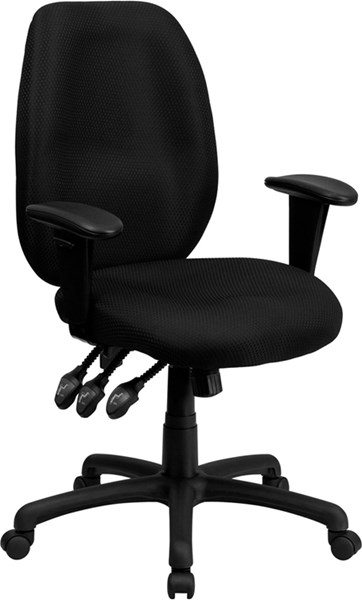 Flash Furniture High Back Black Fabric Ergonomic Task Chair with Arms FLF-BT-6191H-BK-GG