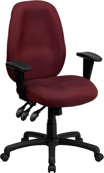 High Back Burgundy Fabric Multi-Functional Ergonomic Task Chair w/Arms FLF-BT-6191H-BY-GG