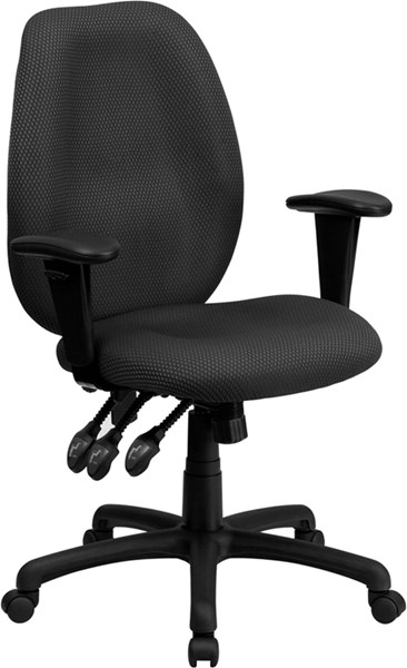 Flash Furniture High Back Gray Fabric Ergonomic Task Chair with Arms FLF-BT-6191H-GY-GG