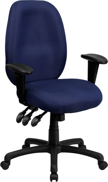 Flash Furniture High Back Navy Fabric Ergonomic Task Chair with Arms FLF-BT-6191H-NY-GG