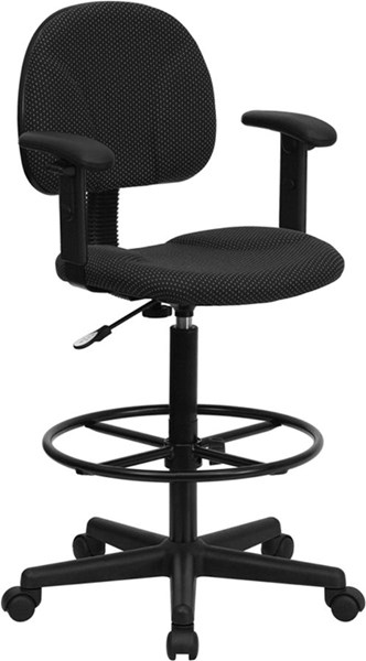 Flash Furniture Black Fabric Ergonomic Drafting Stool with Arms FLF-BT-659-BLK-ARMS-GG