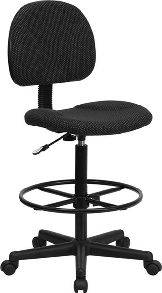 Flash Furniture Black Fabric Ergonomic Drafting Stool FLF-BT-659-BLK-GG