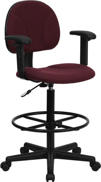 Flash Furniture Burgundy Fabric Ergonomic Drafting Stool with Arms FLF-BT-659-BY-ARMS-GG