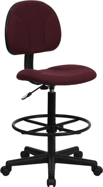 Flash Furniture Burgundy Fabric Ergonomic Drafting Stool FLF-BT-659-BY-GG