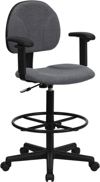 Flash Furniture Gray Fabric Ergonomic Drafting Stool with Arms FLF-BT-659-GRY-ARMS-GG