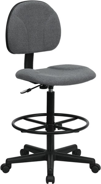 Contemporary Gray Black Fabric Metal Plastic Ergonomic Drafting Stool FLF-BT-659-GRY-GG