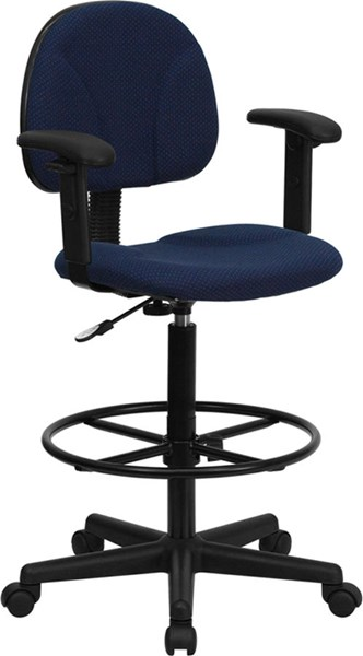 Flash Furniture Blue Fabric Ergonomic Drafting Stool with Arms FLF-BT-659-NVY-ARMS-GG