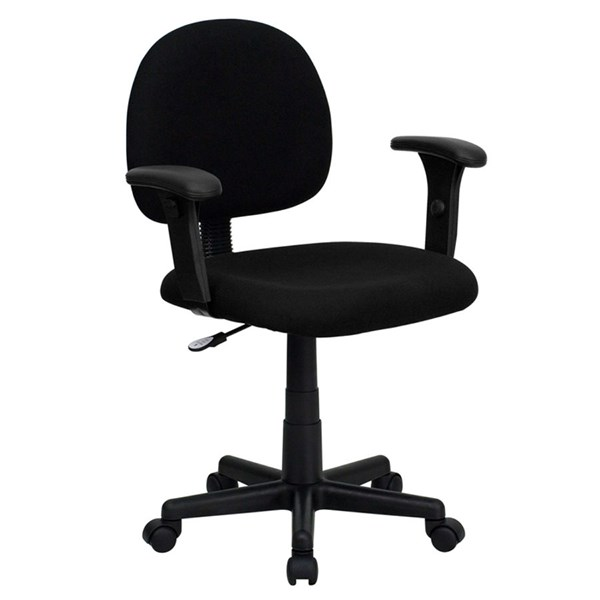 Flash Furniture Mid Back Ergonomic Black Fabric Task Chair with Arms FLF-BT-660-1-BK-GG