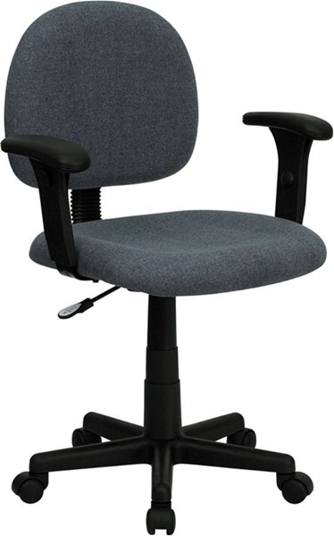 Mid-Back Ergonomic Gray Fabric Task Chair w/Adjustable Arms FLF-BT-660-1-GY-GG