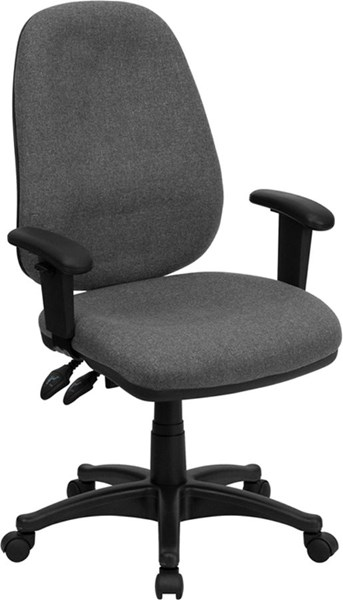 High Back Gray Fabric Ergonomic Computer Chair w/Height Ad. Arms FLF-BT-661-GR-GG