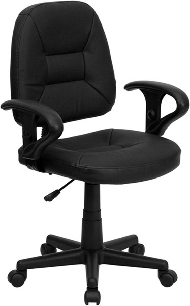 Flash Furniture Black Leather Metal Ergonomic Task Chair FLF-BT-682-BK-GG