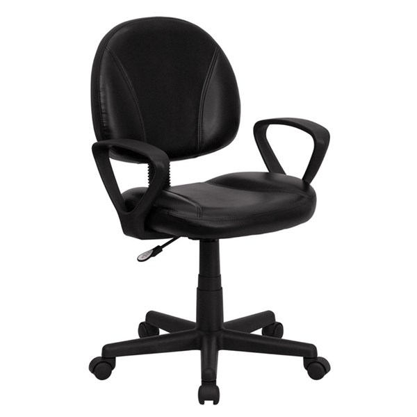 Mid-Back Black Leather Ergonomic Task Chairs FLF-BT-688-BK-GG-VAR