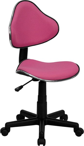 Pink Black Fabric Metal Plastic Ergonomic Task Chair FLF-BT-699-PINK-GG
