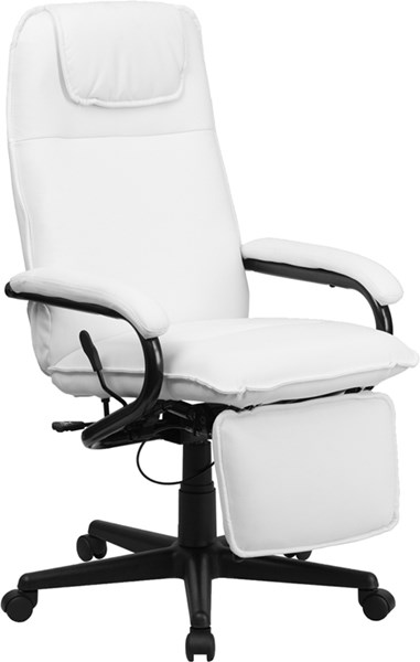 Flash Furniture White Leather Executive Reclining Office Chair FLF-BT-70172-WH-GG