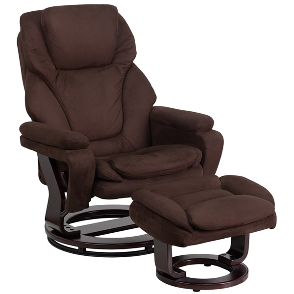 Brown Microfiber Recliner & Ottoman w/Swiveling Mahogany Wood Base FLF-BT-70222-MIC-FLAIR-GG