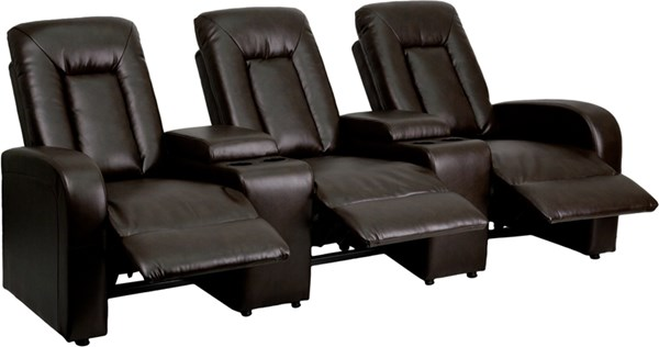 Flash Furniture Eclipse Brown 3 Seat Reclining Theater Seating Unit FLF-BT-70259-3-BRN-GG