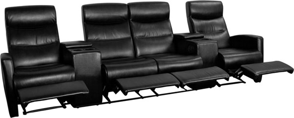 Flash Furniture Eclipse Black Leather 4 Seat Reclining Theater Seating Unit FLF-BT-70273-4-BK-GG