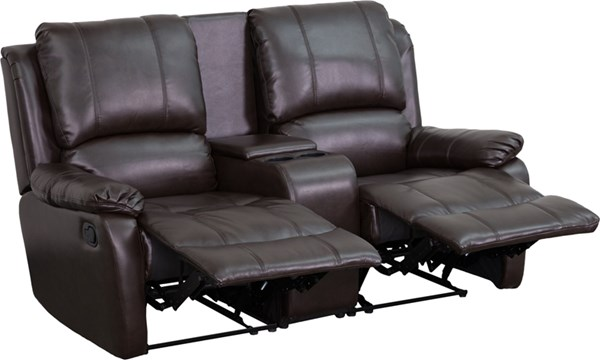 Allure Series Brown Leather 2-Seat Home Theater Recliner w/Pillow Back FLF-BT-70295-2-BRN-GG