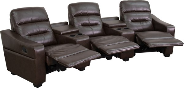 Flash Furniture Futura Brown 3 Seat Reclining Theater Seating Unit FLF-BT-70380-3-BRN-GG