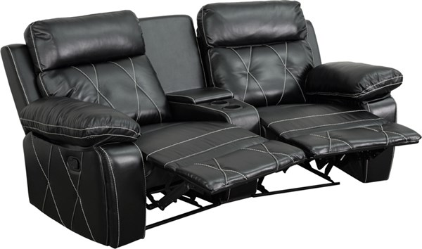 Flash Furniture Reel Comfort Black Curved Cup Holders 2 Seat Reclining Theater Unit FLF-BT-70530-2-BK-CV-GG