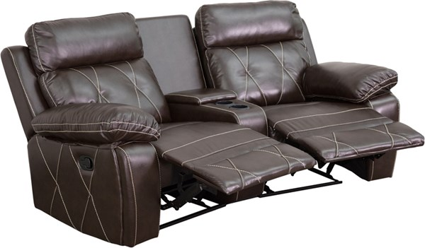 Flash Furniture Reel Comfort Brown Curved Cup Holders 2 Seat Reclining Theater Unit FLF-BT-70530-2-BRN-CV-GG