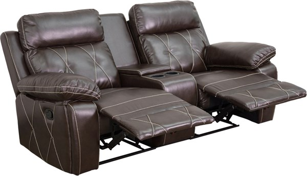 Flash Furniture Reel Comfort Brown Straight Cup Holders 2 Seat Reclining Theater Unit FLF-BT-70530-2-BRN-GG