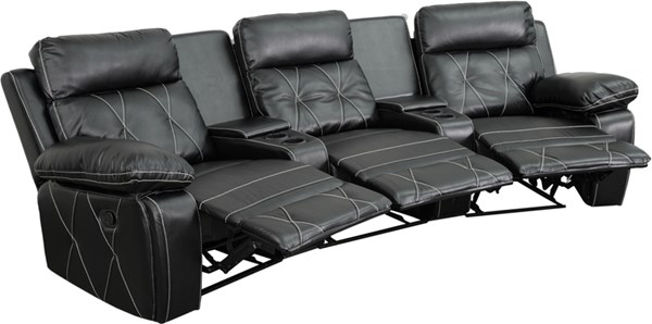 Reel Comfort Black Curved Cup Holders 3-Seat Reclining Theater Unit FLF-BT-70530-3-BK-CV-GG