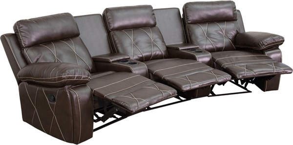 Reel Comfort Curved Cup Holders 3-Seat Reclining Theater Unit FLF-BT-70530-3-CV-GG-SF-VAR
