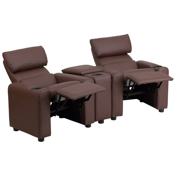Flash Furniture Kids Brown Leather Reclining Theater Seating with Storage Console FLF-BT-70592-BN-LEA-GG