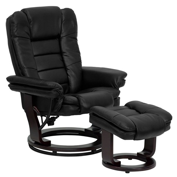 Contemporary Black Mahogany Fabric Leather Wood Recliner And Ottoman FLF-BT-7818-BK-GG