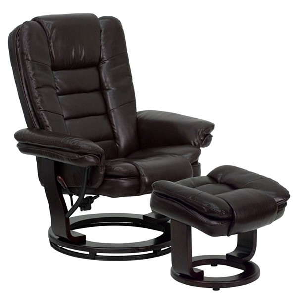 Flash Furniture Brown Leather Wood Recliner and Ottoman FLF-BT-7818-BN-GG