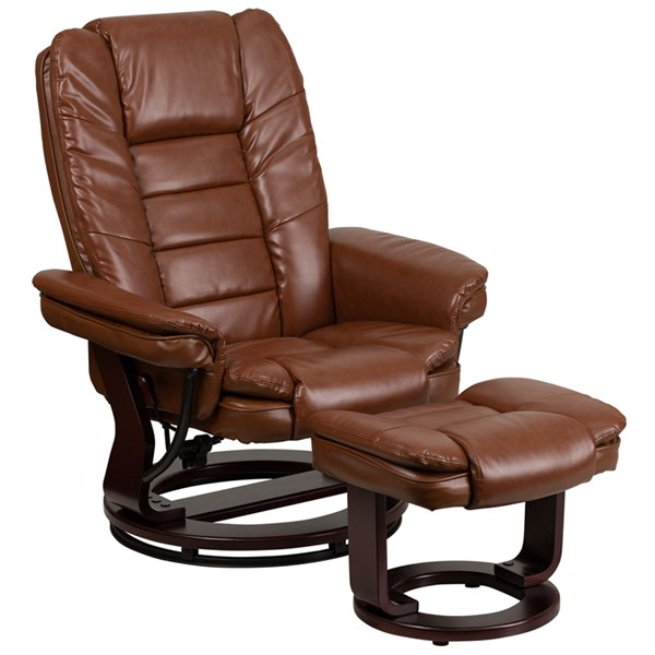 Contemporary Brown Beige Fabric Leather Wood Leather Recliners FLF-BT-7818-GG-CHO-VAR