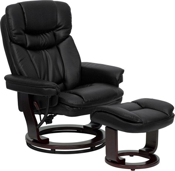 Contemporary Black Mahogany Leather Wood Recliner And Ottoman FLF-BT-7821-BK-GG