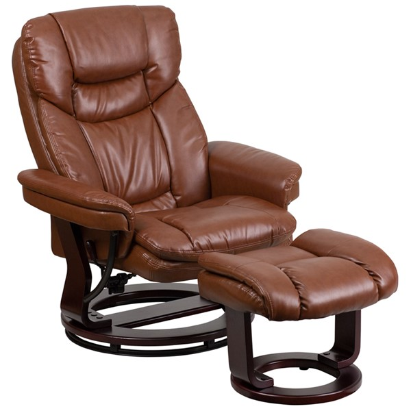 Contemporary Brown Mahogany Foam Leather Wood Recliner & Ottoman FLF-BT-7821-VIN-GG