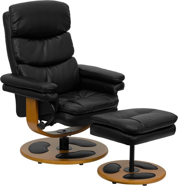Black Leather Recliner & Ottoman w/Wood Base FLF-BT-7828-PILLOW-GG