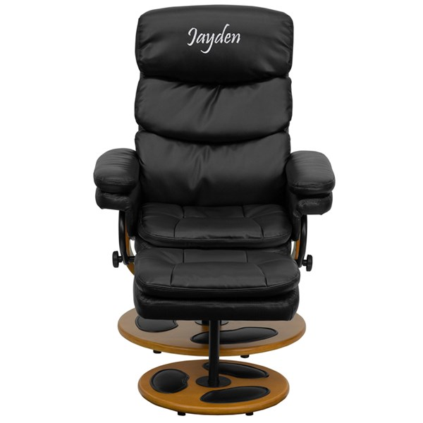Personalized Contemporary Black Leather Recliner & Ottoman w/Wood Base FLF-BT-7828-PILLOW-TXTEMB-GG