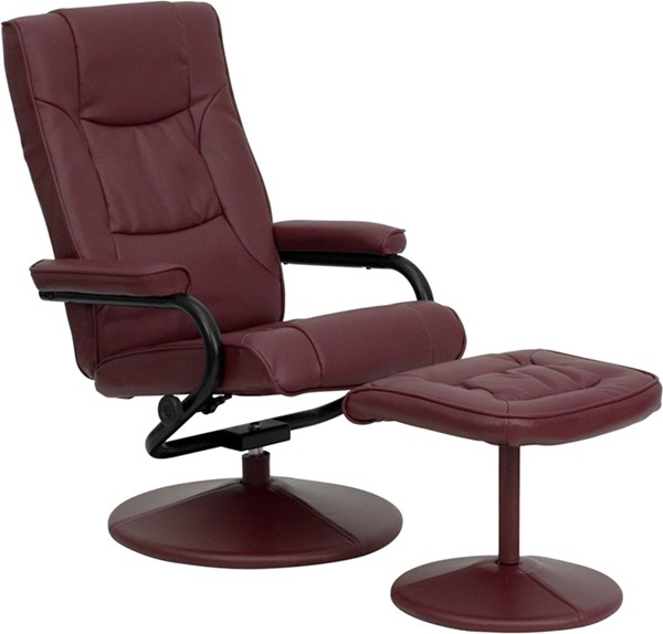 Burgundy Leather Recliner & Ottoman w/Leather Wrapped Base FLF-BT-7862-BURG-GG