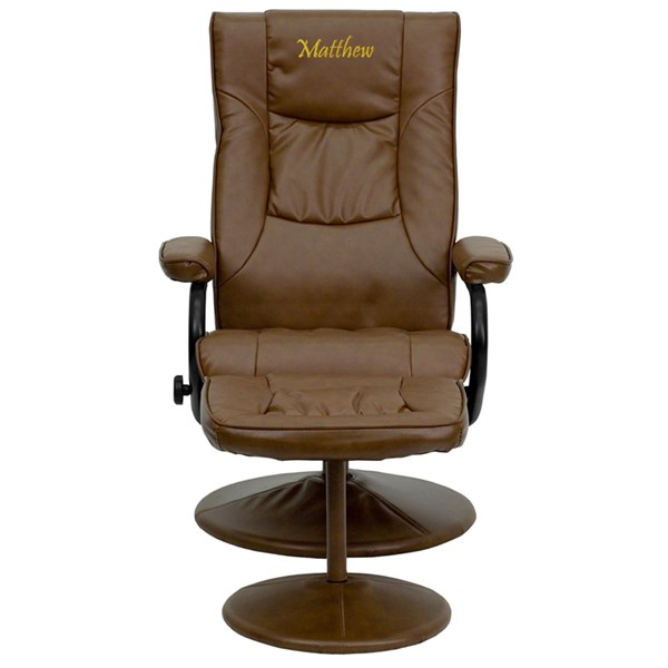 Contemporary Leather Recliner & Ottoman w/Leather Wrap Base FLF-BT-7862-TXTEMB-GG-CHO-VAR