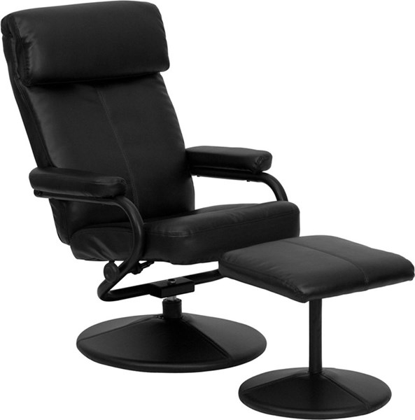 Black Fabric Leather Metal Recliner And Ottoman W/Wrapped Base FLF-BT-7863-BK-GG