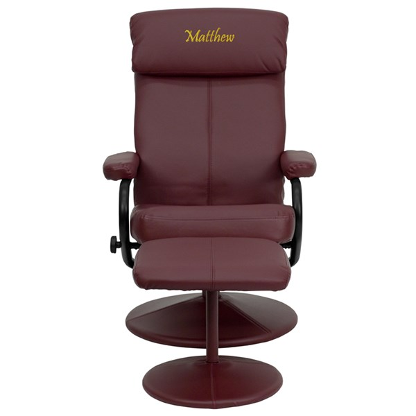 Contemporary Burgundy Leather Recliner and Ottoman w/Leather Wrap Base FLF-BT-7863-BURG-TXTEMB-GG