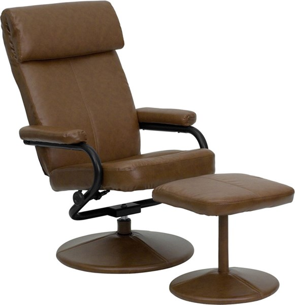 Palomino Leather Recliner & Ottoman w/Leather Wrapped Base FLF-BT-7863-PALOMINO-GG
