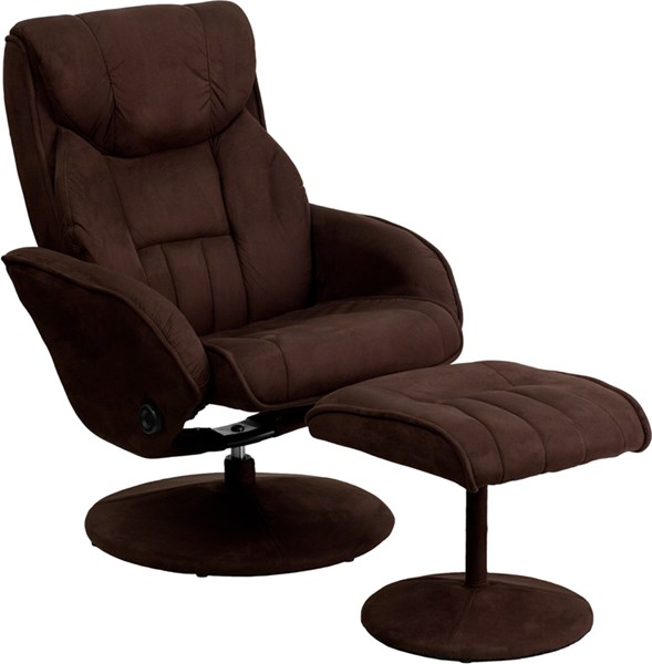 Contemporary Brown Circular Microfiber Wrapped Base Recliner & Ottoman FLF-BT-7895-MIC-PINPOINT-GG