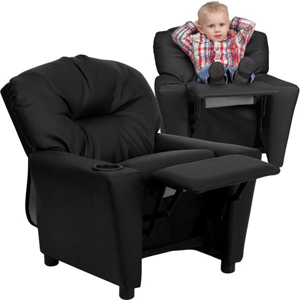Flash Furniture Black Leather Kids Recliner with Cup Holder FLF-BT-7950-KID-BK-LEA-GG