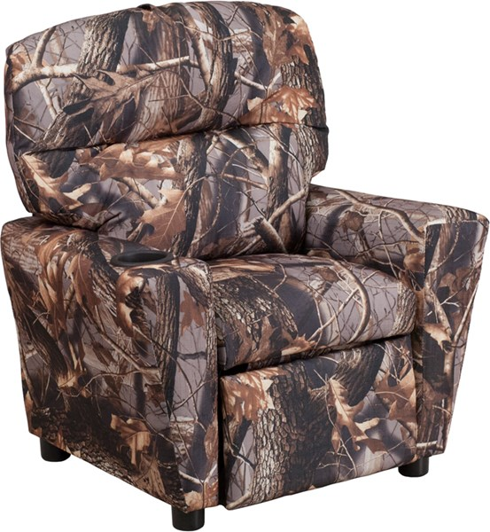 Contemporary Camouflaged Fabric Kids Recliner w/Cup Holder FLF-BT-7950-KID-CAMO-GG