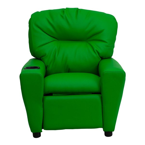 Flash Furniture Green Vinyl Kids Recliner with Cup Holder