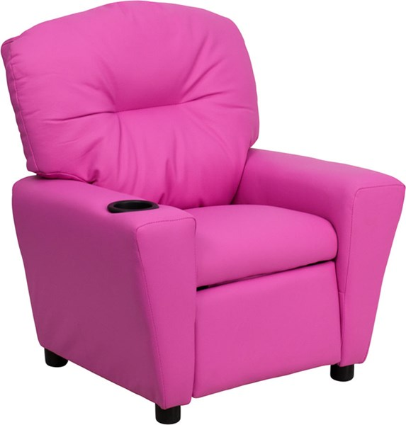 Flash Furniture Hot Pink Vinyl Kids Recliner with Cup Holder FLF-BT-7950-KID-HOT-PINK-GG