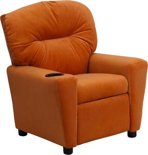 Flash Furniture Orange Microfiber Kids Recliner with Cup Holder FLF-BT-7950-KID-MIC-ORG-GG