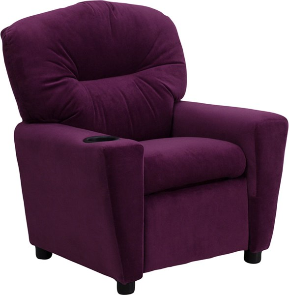 Flash Furniture Purple Microfiber Kids Recliner with Cup Holder FLF-BT-7950-KID-MIC-PUR-GG