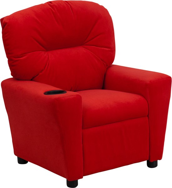 Flash Furniture Red Microfiber Kids Recliner with Cup Holder FLF-BT-7950-KID-MIC-RED-GG