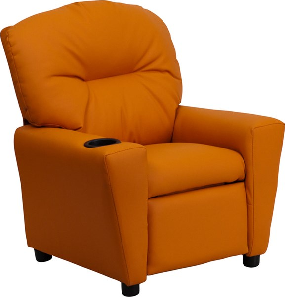 Flash Furniture Orange Vinyl Kids Recliner with Cup Holder FLF-BT-7950-KID-ORANGE-GG
